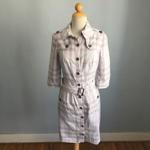 Burberry Brit Taupe Plaid Trench Dress